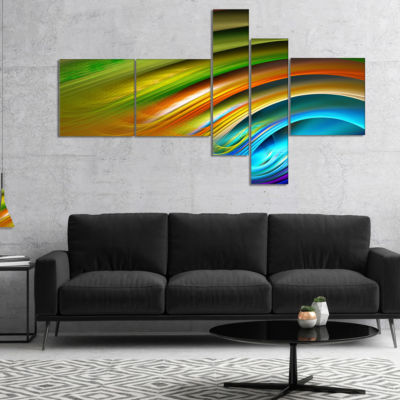 Designart Colorful Fractal Water Ripples Multipanel Abstract Canvas Art Print - 4 Panels