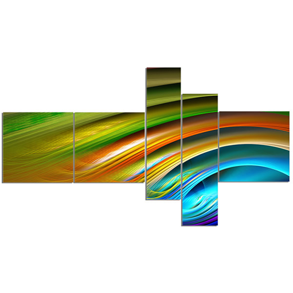 Designart Colorful Fractal Water Ripples Multipanel Abstract Canvas Print Art - 5 Panels