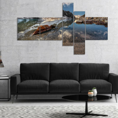 Designart Sapphire Mountain Lake View Multipanel Landscape Canvas Art Print - 5 Panels