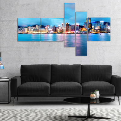 Designart Colorful Hong Kong At Night Multipanel Cityscape Canvas Art Print - 4 Panels