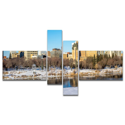 Designart Saskatoon Skyline Multipanel Landscape Photo Canvas Art Print - 4 Panels