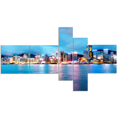 Designart Colorful Hong Kong At Night Multipanel Cityscape Canvas Art Print - 5 Panels