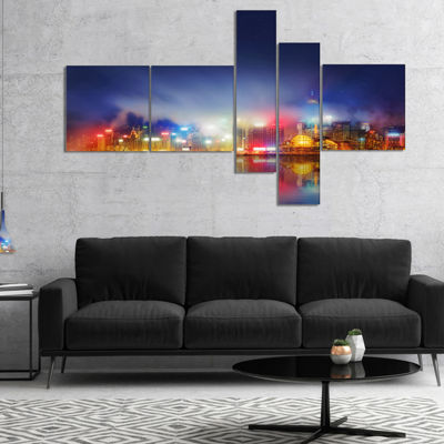 Designart Colorful Hong Kong Skyline Multipanel Cityscape Photography Canvas Print - 4 Panels