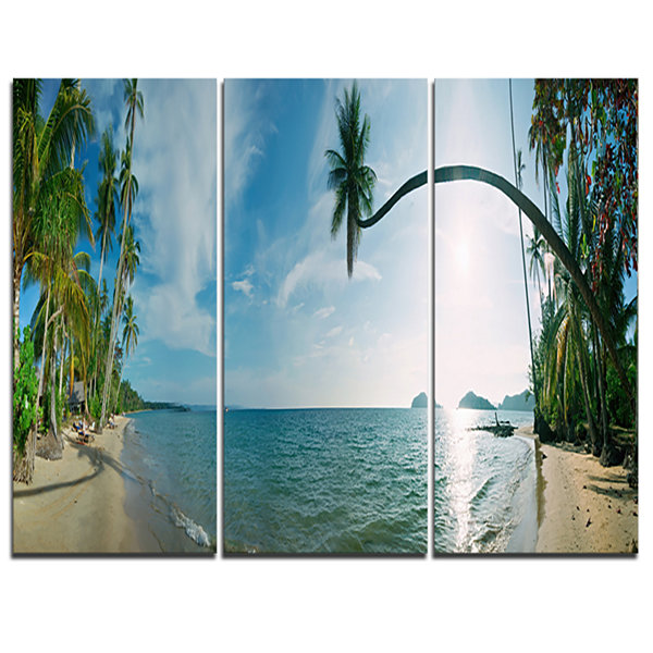 Designart Tropical Beach Panorama Photography Canvas Art Print - 3 Panels
