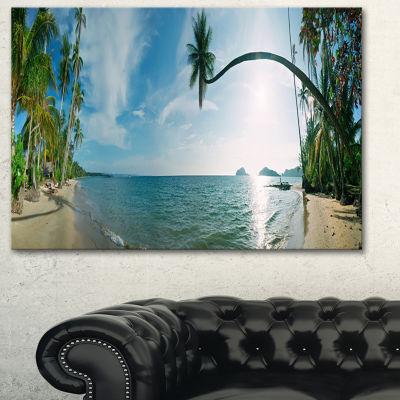 Designart Tropical Beach Panorama Photography Canvas Art Print - 3 Panels