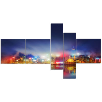 Designart Colorful Hong Kong Skyline Multipanel Cityscape Photography Canvas Print - 5 Panels