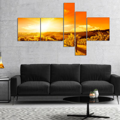 Designart Scenic Sunset Road In Italy MultipanelLarge Landscape Canvas Art - 4 Panels