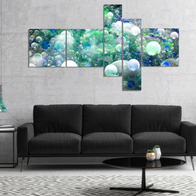 Designart Colorful Molecules Fractal Design Multipanel Abstract Canvas Art Print - 4 Panels