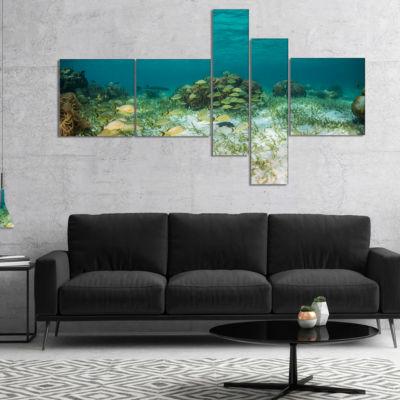 Designart School Of Grunts With Baracuda Multipanel Seashore Canvas Art Print - 5 Panels