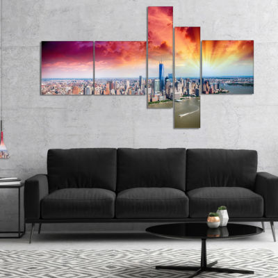 Designart Colorful New York Skyline Aerial View Multipanel Modern Cityscape Canvas Art Print - 4 Panels