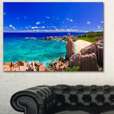 Designart Tropical Beach Panorama Seascape CanvasArt Print - 3 Panels