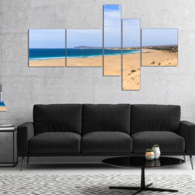 Designart Sea And Clouds In Blue Sky Multipanel Seashore Canvas Art Print - 5 Panels