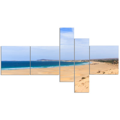 Designart Sea And Clouds In Blue Sky Multipanel Seashore Canvas Art Print - 5 Panels