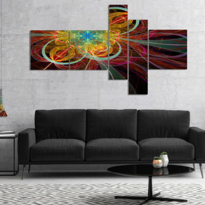 Designart Colorful Red Fractal Flower Multipanel Abstract Canvas Art Print - 4 Panels