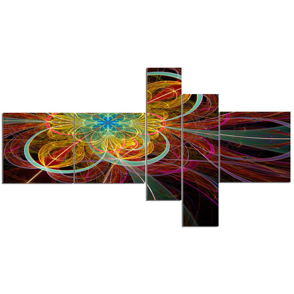 Designart Colorful Red Fractal Flower Multipanel Abstract Canvas Art Print - 5 Panels