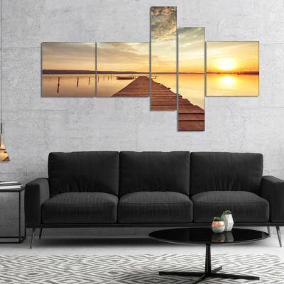 Designart Sea Pier Under Beautiful Cloudscape Multipanel Modern Canvas Art Print - 5 Panels