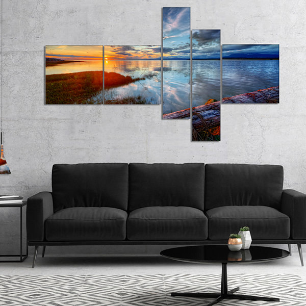 Designart Colorful River Sunset With Log Multipanel Seashore Canvas Art Print - 5 Panels