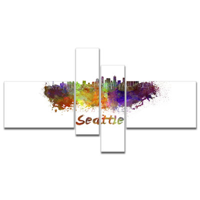 Designart Seattle Skyline Multipanel Cityscape Canvas Artwork Print - 4 Panels