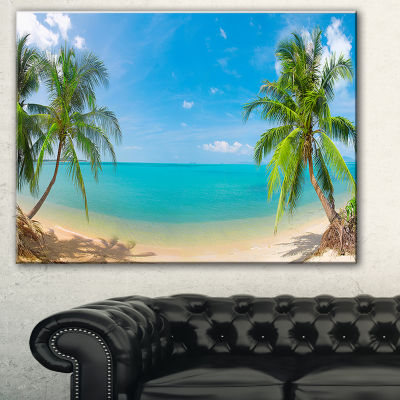 Designart Tropical Beach With Coconut Trees Landscape Photography Canvas Print - 3 Panels