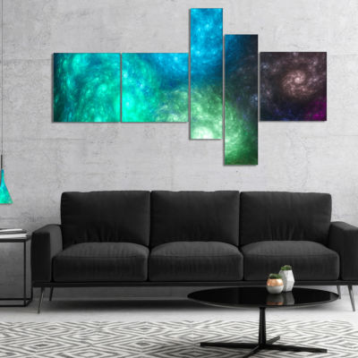 Designart Colorful Rotating Fractal Galaxies Multipanel Abstract Wall Art Canvas - 5 Panels