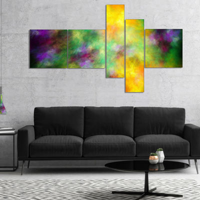 Designart Colorful Sky With Blur Stars MultipanelAbstract Canvas Art Print - 4 Panels