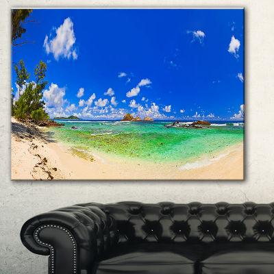 Designart Tropical Beach With Green Sea Lanscape Photography Canvas Print