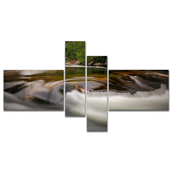 Designart Segade Waterfall Galicia Spain Multipanel Landscape Photo Canvas Art Print - 4 Panels