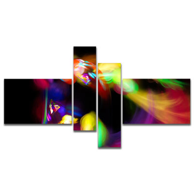 Designart Colorful Smoke Spiral Multipanel Abstract Canvas Art Print - 4 Panels