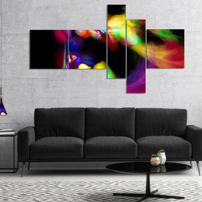 Designart Colorful Smoke Spiral Multipanel Abstract Canvas Art Print - 5 Panels
