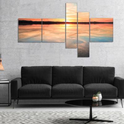 Designart Sensational Sunset In Australia Multipanel Seascape Canvas Art Print - 5 Panels