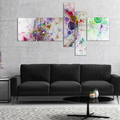 Designart Colorful Spherical Planet Bubbles Multipanel Abstract Canvas Art Print - 4 Panels