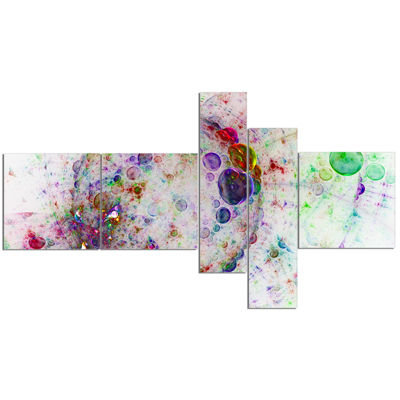 Designart Colorful Spherical Planet Bubbles Multipanel Abstract Canvas Print Art - 5 Panels