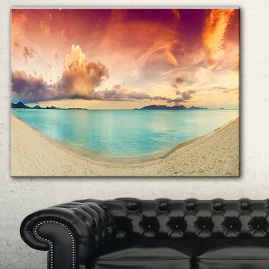 Designart Tropical Colorful Sunset With Pond Landscape Art Print Canvas