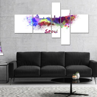 Designart Seoul Skyline Multipanel Cityscape Canvas Artwork Print - 5 Panels