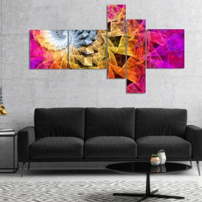 Designart Colorful Spiral Kaleidoscope MultipanelAbstract Wall Art Canvas - 5 Panels