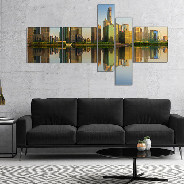 Designart Shanghai Huangpu River At Sunset Multipanel Cityscape Canvas Art Print - 5 Panels