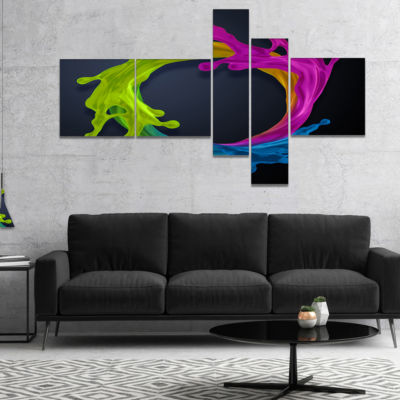 Designart Colorful Splash Round Multipanel Abstract Canvas Art Print - 4 Panels