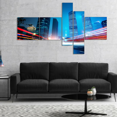Designart Shanghai Lujiazui Finance At Night Multipanel Cityscape Canvas Print - 5 Panels