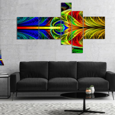Designart Colorful Stained Glass Texture Multipanel Abstract Wall Art Canvas - 4 Panels