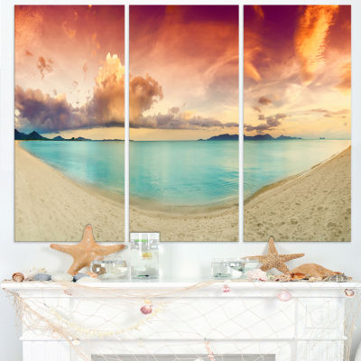 Designart Tropical Colorful Sunset With Pond Landscape Art Print Canvas - 3 Panels