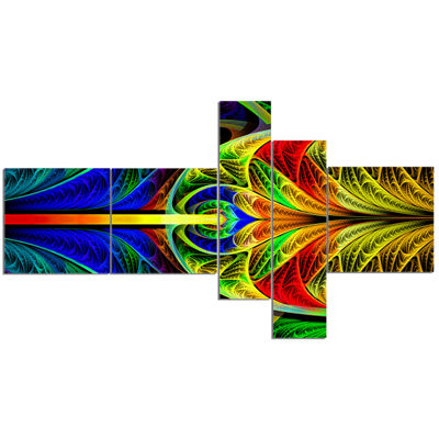 Designart Colorful Stained Glass Texture Multipanel Abstract Wall Art Canvas - 5 Panels