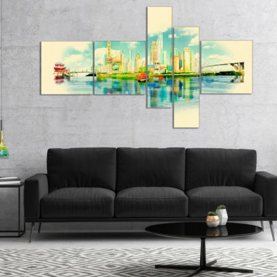 Designart Shanghai Panoramic View Multipanel Cityscape Watercolor Canvas Print - 5 Panels