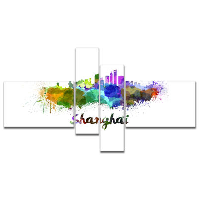 Designart Shanghai Skyline Multipanel Cityscape Canvas Artwork Print - 4 Panels