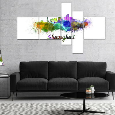 Designart Shanghai Skyline Multipanel Cityscape Canvas Artwork Print - 5 Panels