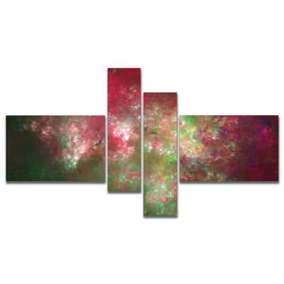 Designart Colorful Starry Fractal Sky Multipanel Abstract Canvas Art Print - 4 Panels