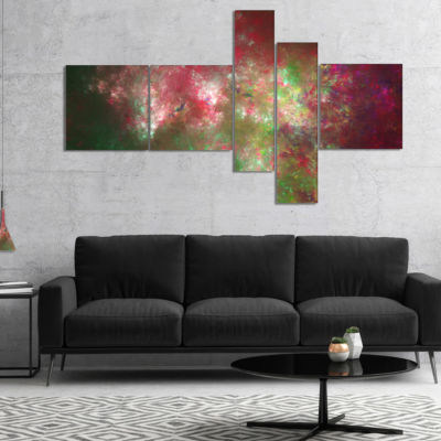 Designart Colorful Starry Fractal Sky Multipanel Abstract Canvas Print Art - 5 Panels