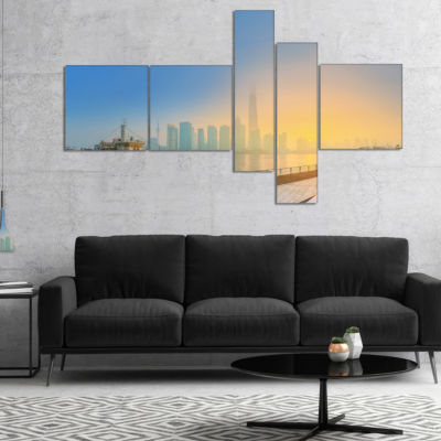 Designart Shanghais Night With Lights Multipanel Cityscape Canvas Art Print - 5 Panels