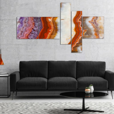 Designart Colorful Stone Stripes Multipanel Abstract Canvas Art Print - 4 Panels