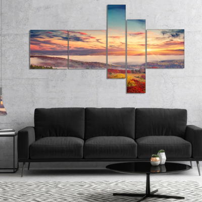 Designart Colorful Sunset In Foggy Mountains Multipanel Landscape Canvas Art Print - 5 Panels