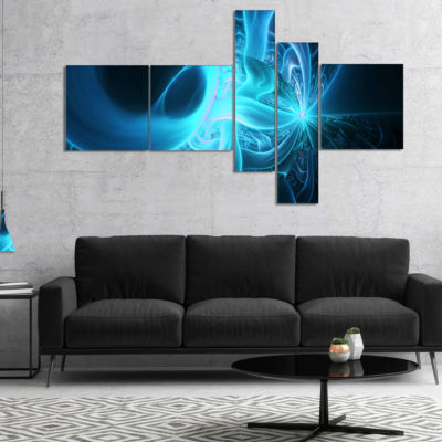 Designart Shining Bright Blue On Black MultipanelAbstract Wall Art Canvas - 5 Panels